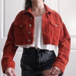 UO cropped corduroy frayed jacket